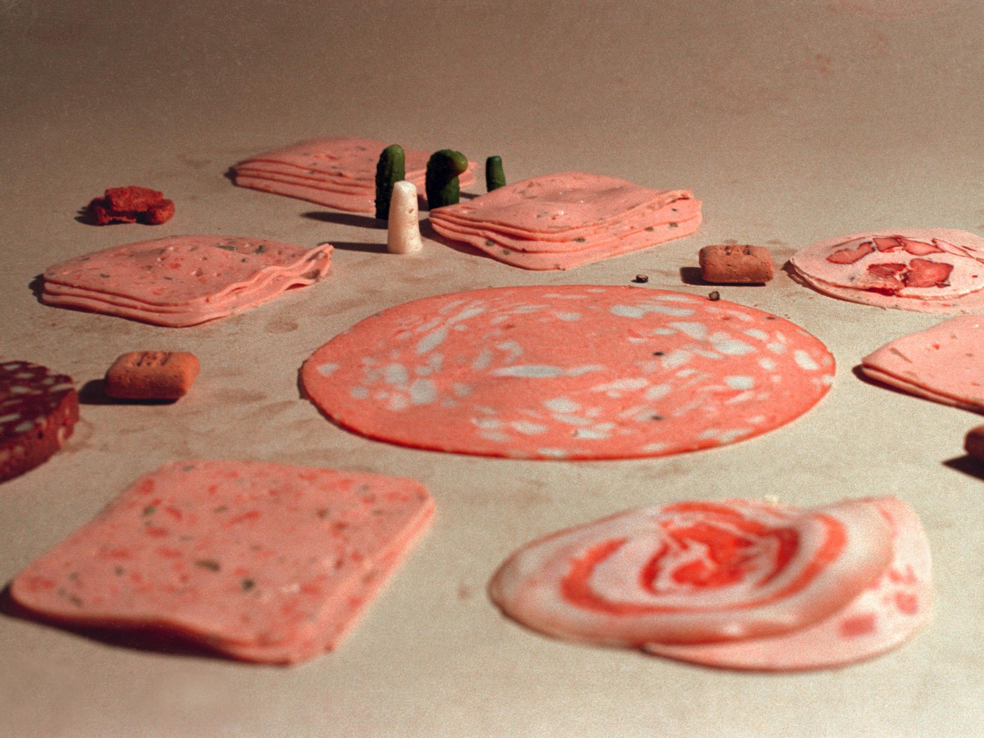 Wurst_06Fischli-Weiss,Nel negozio di tappeti,dalla serieFotografie di salsicce1979